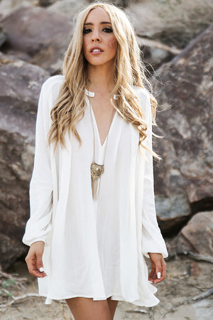 Over The Hill Shift Dress - White - Haute & Rebellious