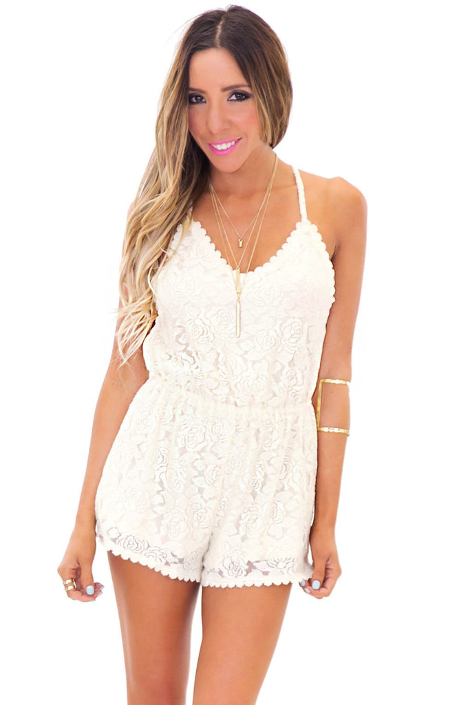 BRIT OPEN BACK LACE ROMPER - Cream