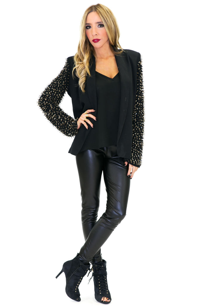 HENDRIN BEADED SLEEVE BLAZER