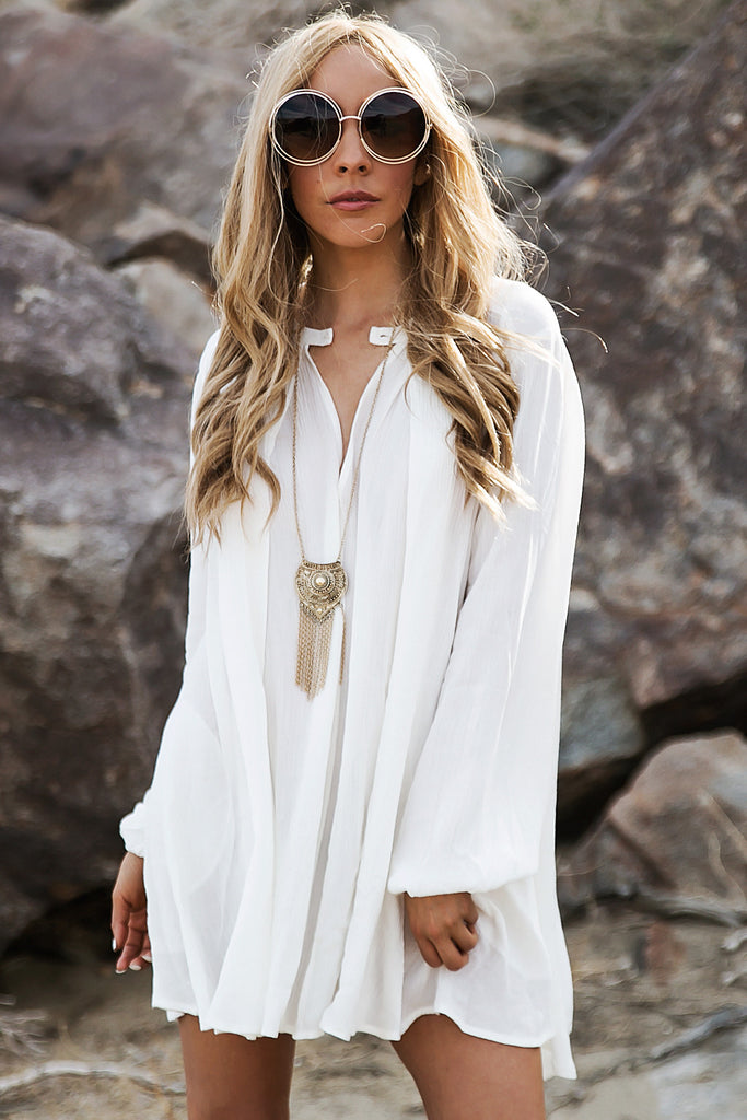 Over The Hill Shift Dress - White