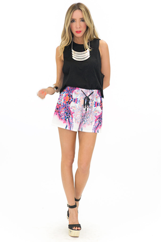 REFLECTION PRINT SHORTS - Pink
