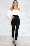 Gold Button Skinny Pant