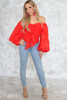 Waiting Here Off-Shoulder Puff Sleeve Top - Red
