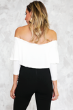 Off-Shoulder Tee with Ruffle - White