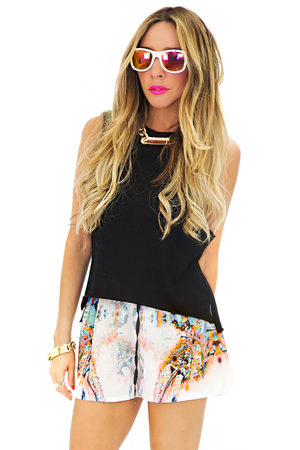 REFLECTION PRINT SHORTS - Orange - Haute & Rebellious