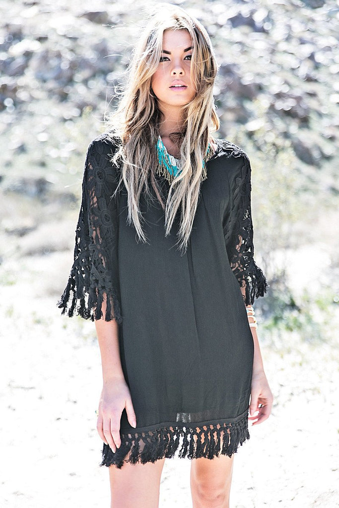 Layla Crochet Fringe Sun Dress - Black