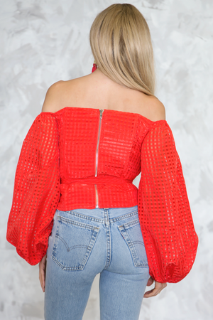 Waiting Here Off-Shoulder Puff Sleeve Top - Red - Haute & Rebellious