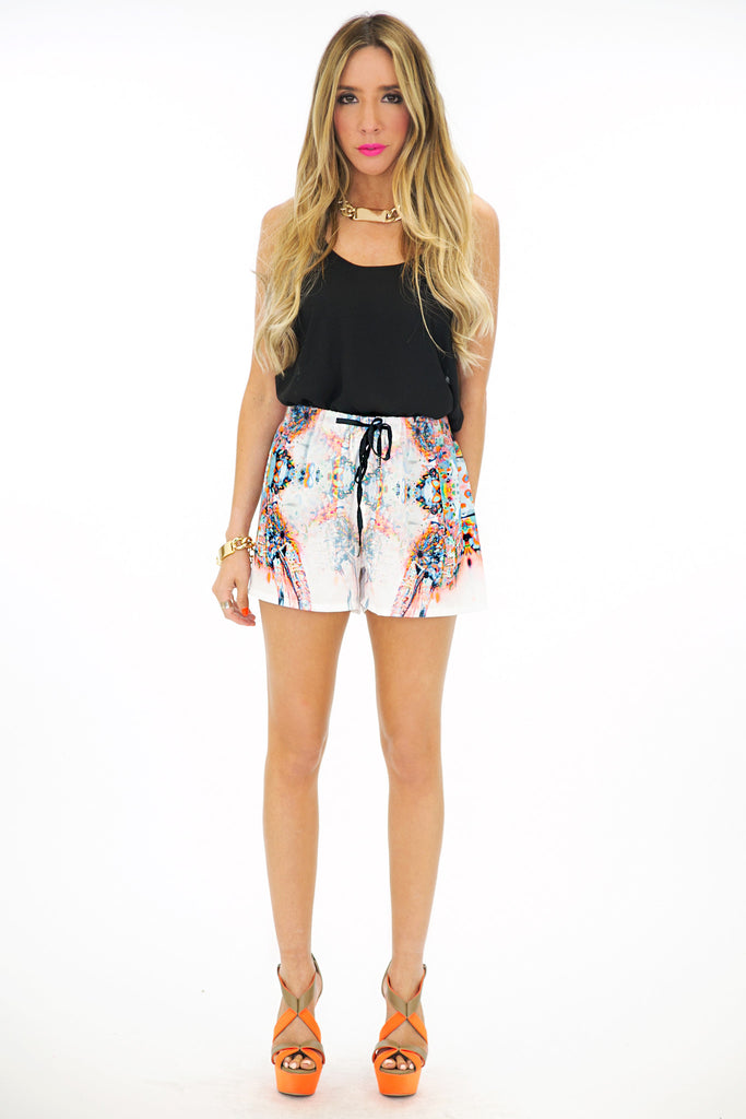 REFLECTION PRINT SHORTS - Orange