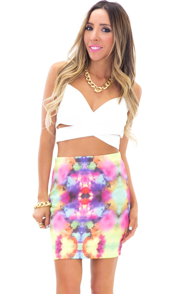 INK DROP PRINTED SKIRT