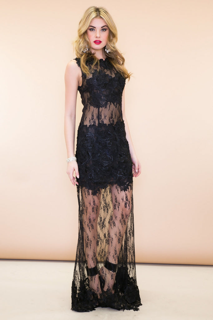 Stella Embroidery Lace Maxi Dress - Black