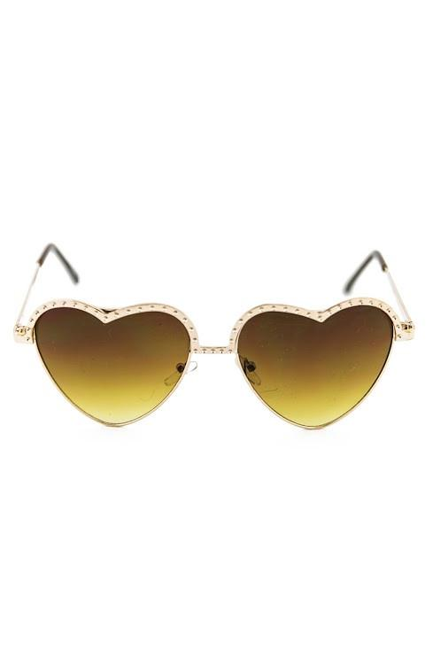 I HEART YOU SUNGLASSES - Brown/Gold