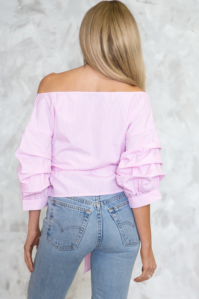 Call Me Striped Ruched Sleeve Top - Pink