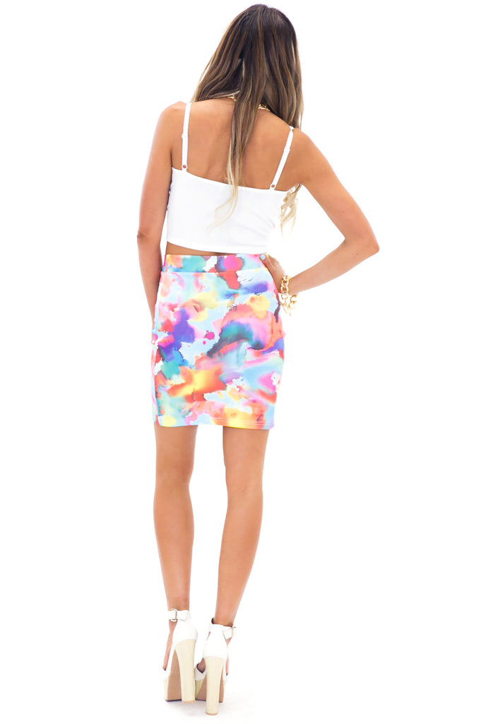 WATERCOLOR PRINT SKIRT - Orange
