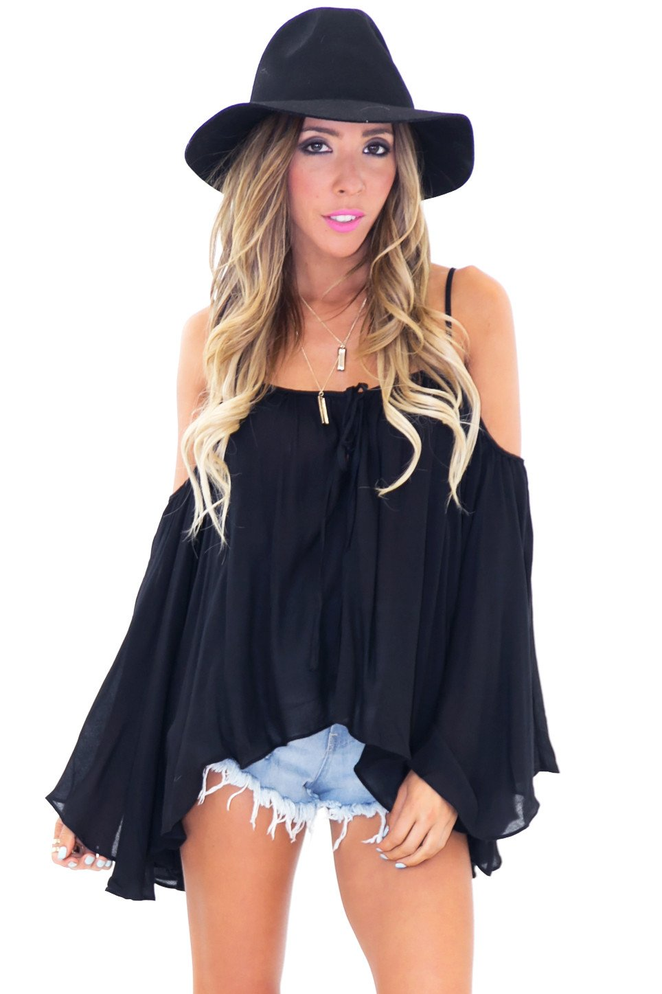 ADELLE OFF SHOULDER BELL SLEEVE TOP - Black - Haute & Rebellious