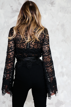 Lace Bell Sleeve Top - Black
