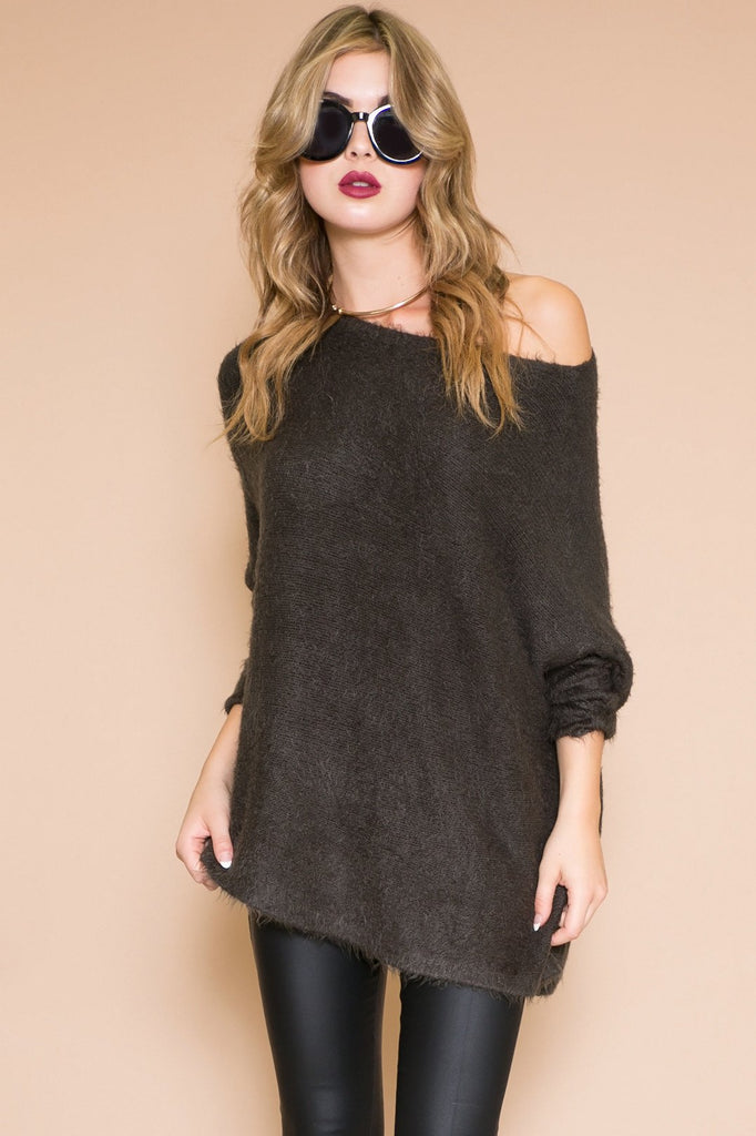 LUCIA FUR ASYMMETRICAL SWEATER - CHARCOAL