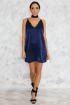 Private Party Satin Cami Dress - Midnight Blue - Haute & Rebellious
