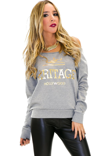 HERITAGE SWEATSHIRT TOP - Grey - Haute & Rebellious