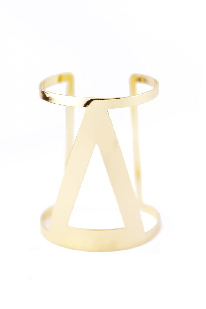 V-CUTOUT PLATED CUFF BANGLE