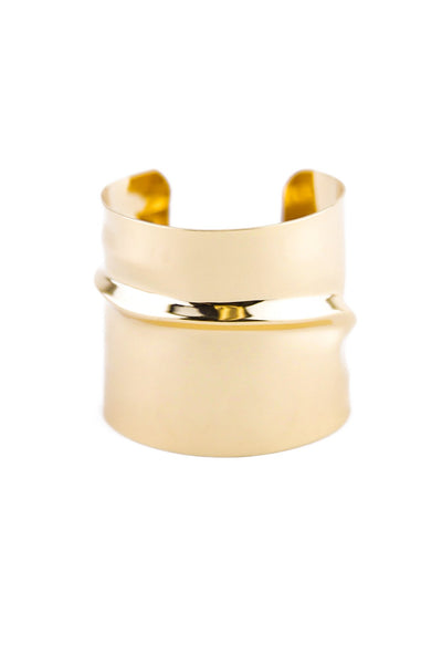 GROOVED PLATED CUFF BRACELET - Haute & Rebellious