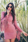Akela Suede Fringe Dress