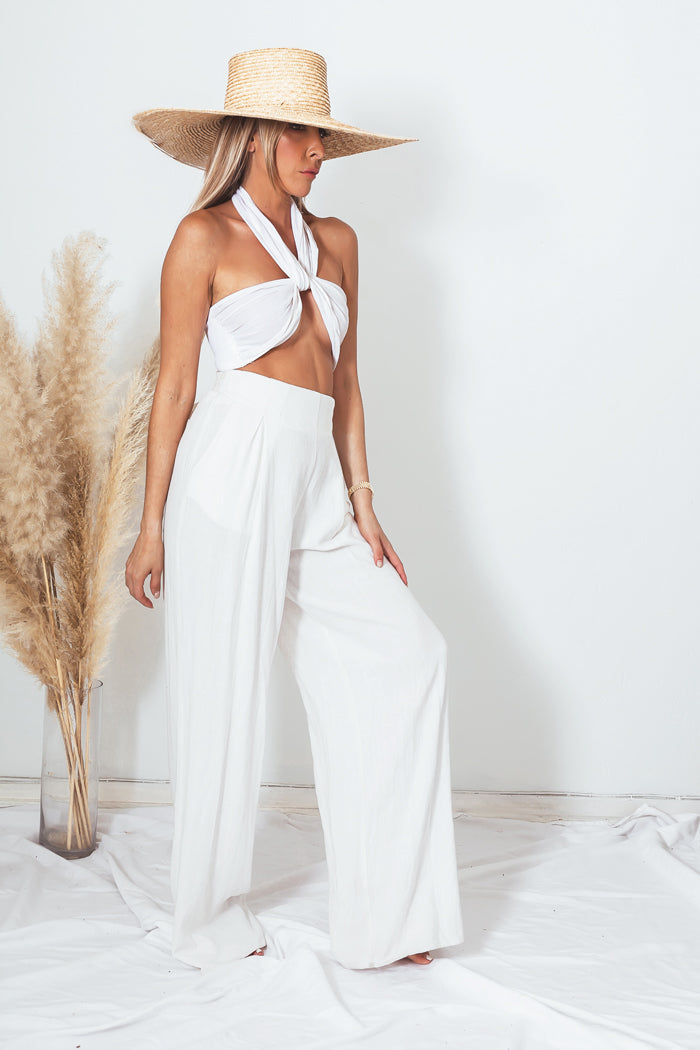 Linen Wide Leg Pant with Tie Waist
