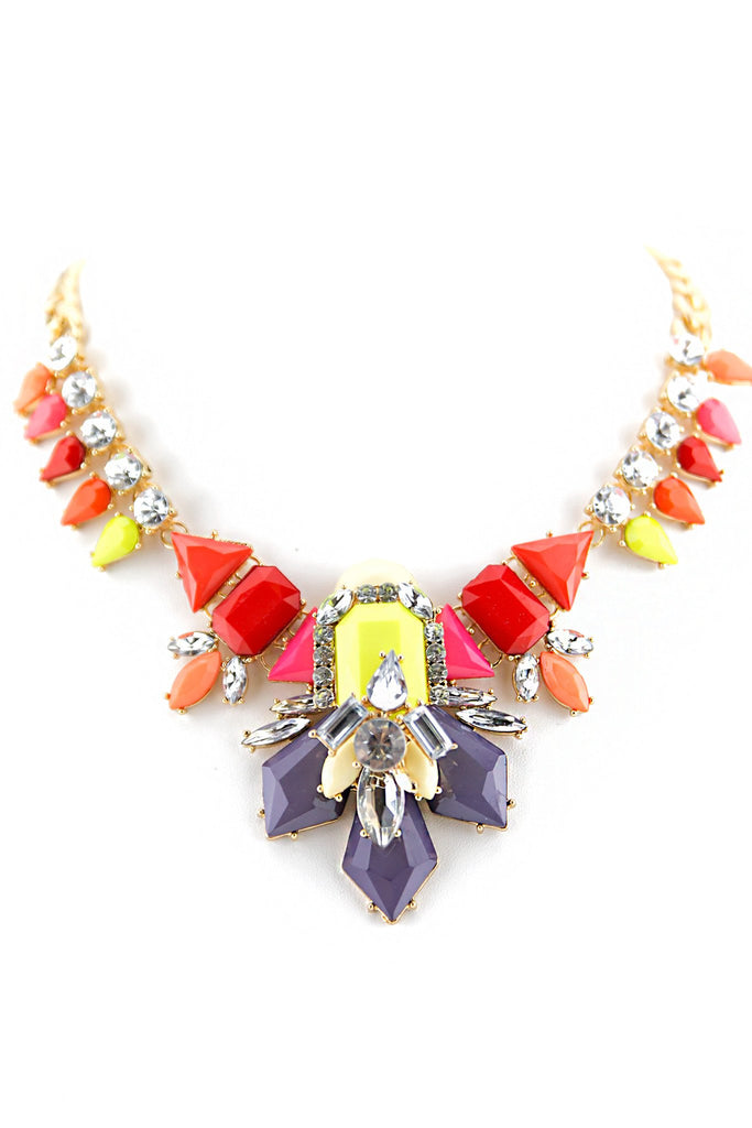 COLORED STAR PENDANT STONES NECKLACE
