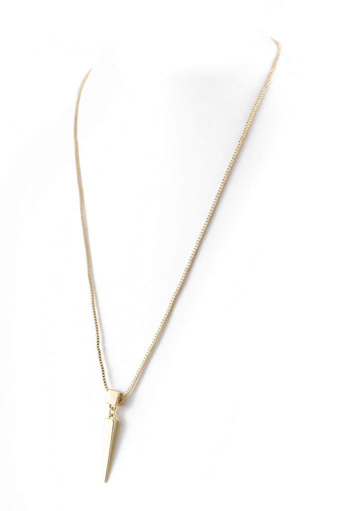LONG POINTED BLOCK PENDANT NECKLACE - Gold