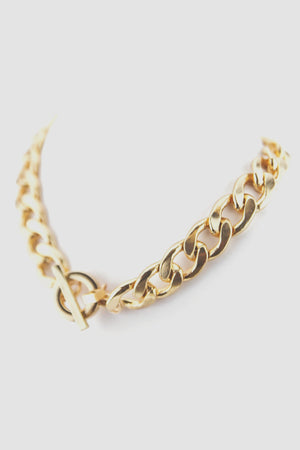 HEAVY CHAIN LINK CIRCLE PENDANT NECKLACE - Haute & Rebellious