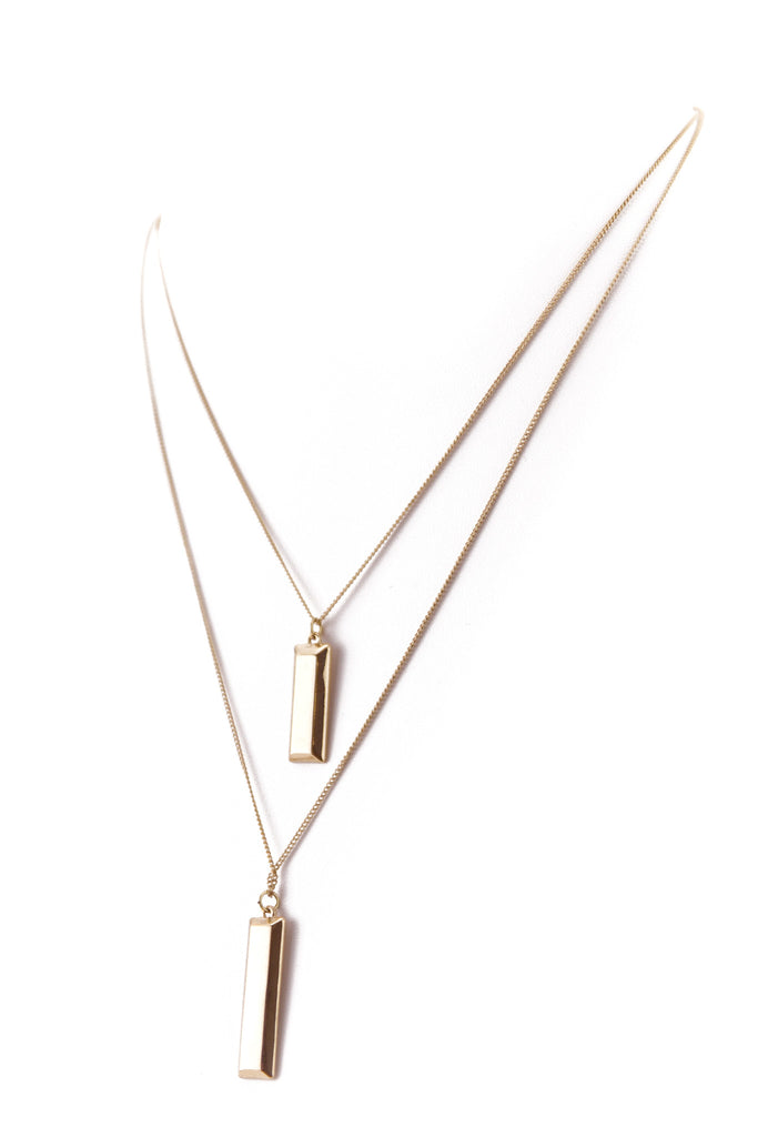 PETITE DOUBLE PLATE PENDANT NECKLACE