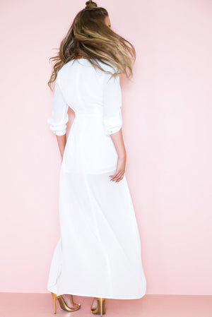 All I See Maxi with Shorts Dress - White /// Only 1-L Left /// - Haute & Rebellious