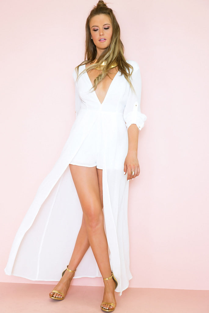 All I See Maxi with Shorts Dress - White