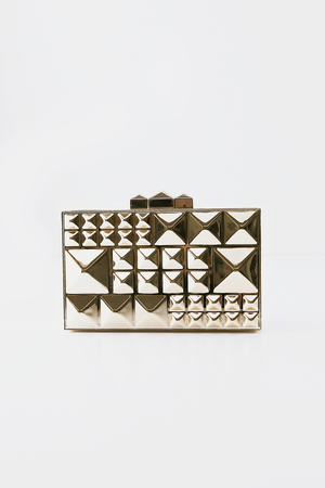 Gold Studded Box Clutch