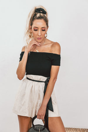 Off-Shoulder Smocked Top - Black