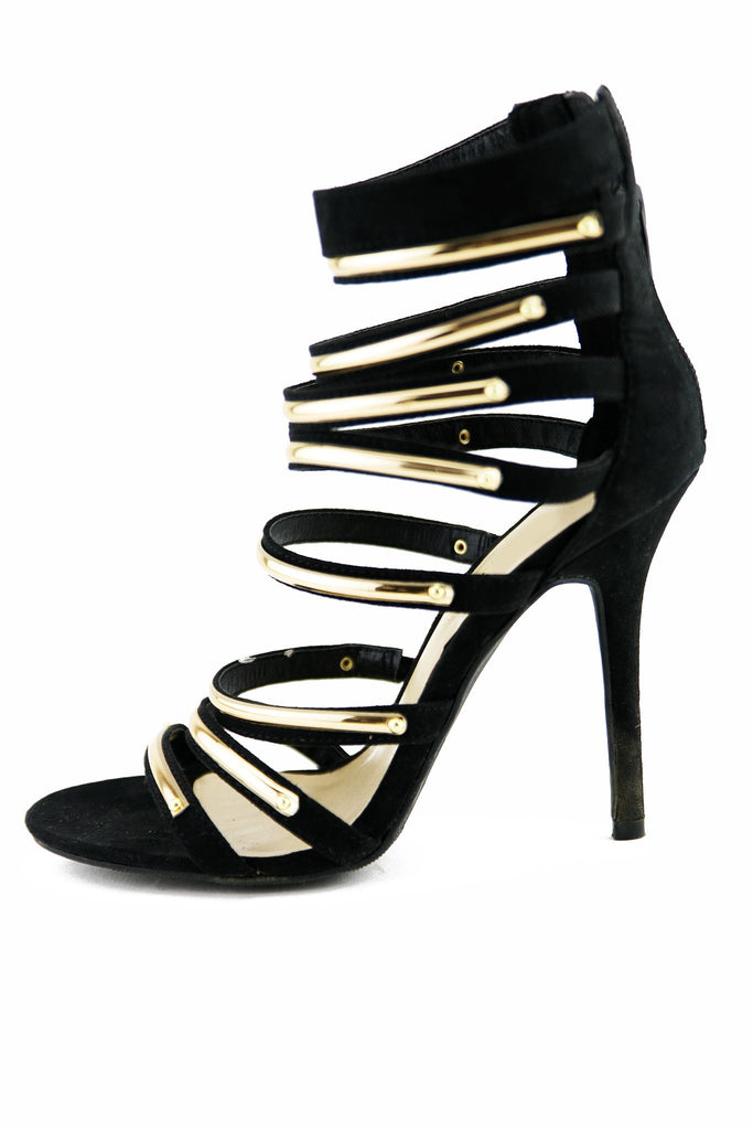 LAIN PLATED STRAPPY SANDAL HEEL - Black