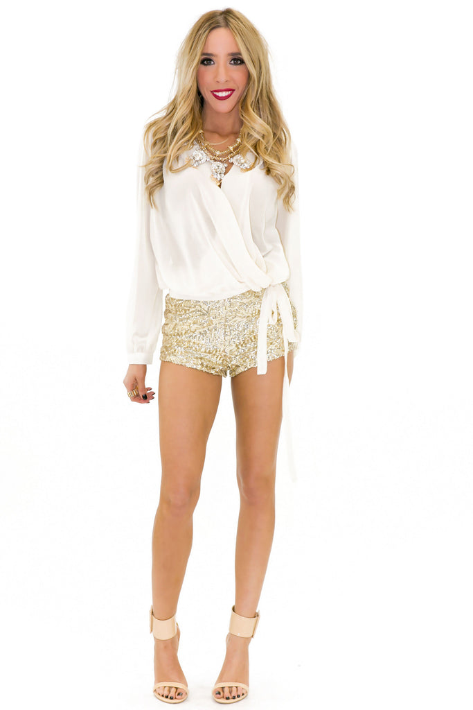 Paulin High-Waisted Sequin Booty Shorts