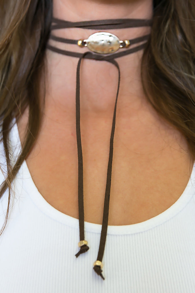 Up To You Choker - Brown