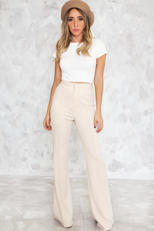 High Waist Crepe Trousers  - Beige