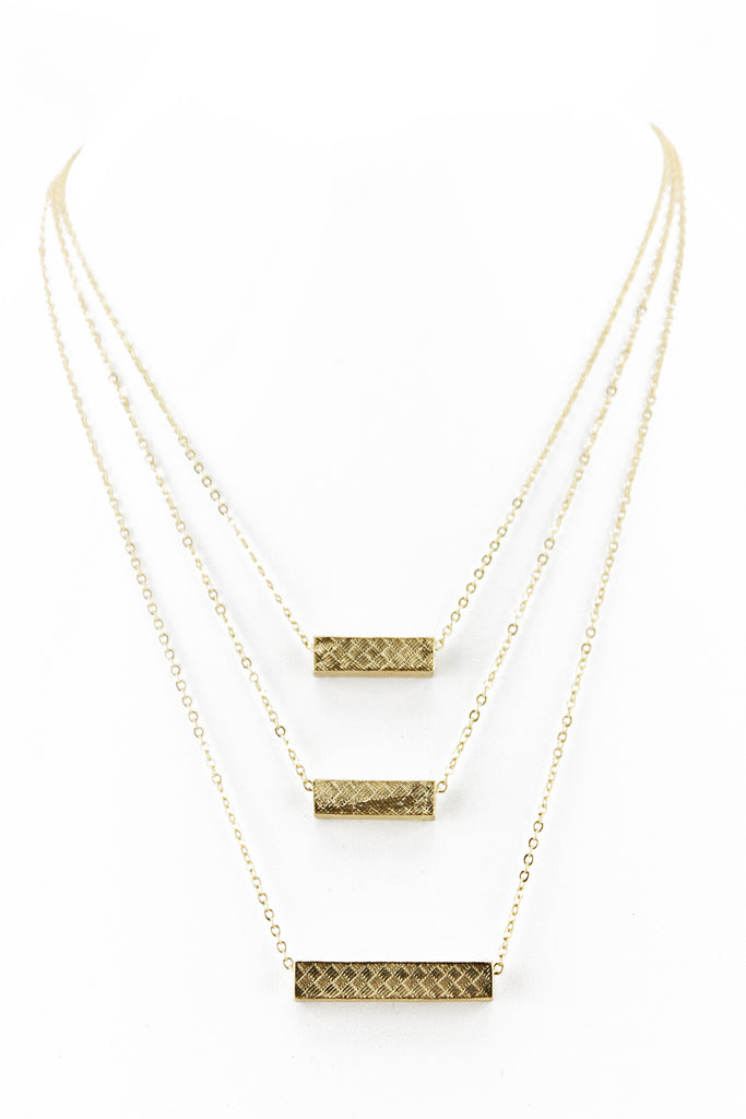 TRIPLE CHAIN BLOCK PENDANT NECKLACE