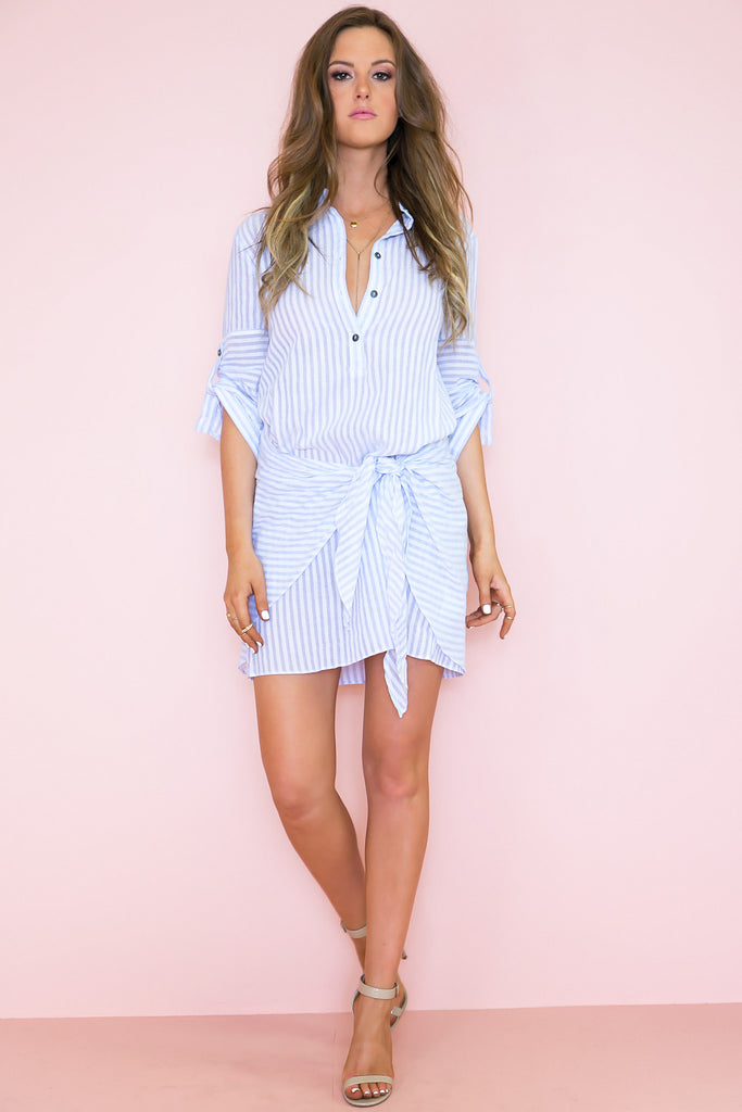 Tie The Knot Striped Shirt Dress