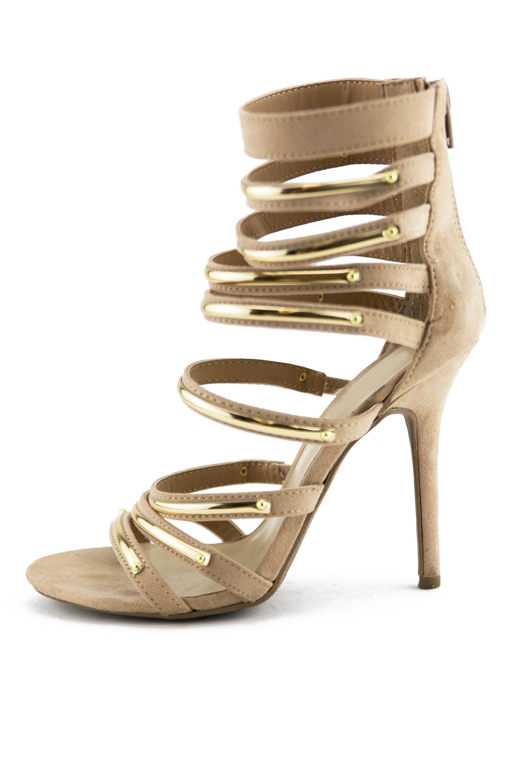 LAIN PLATED STRAPPY SANDAL HEEL - Taupe - Haute & Rebellious