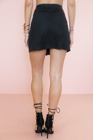Suede Front-Button Skirt - Black - Haute & Rebellious