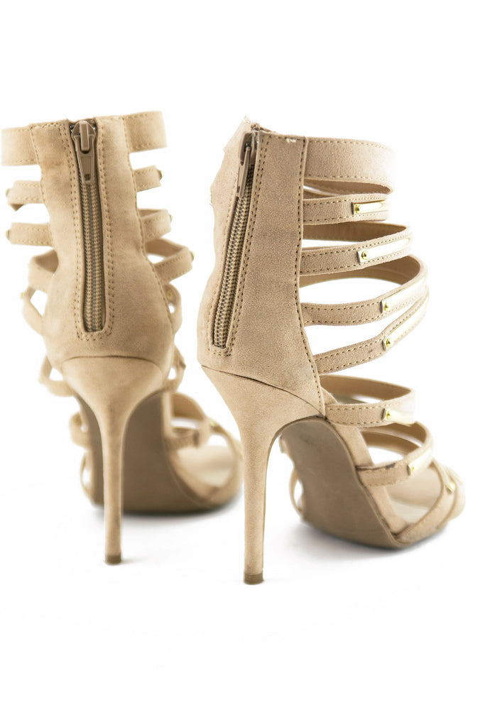 LAIN PLATED STRAPPY SANDAL HEEL - Taupe