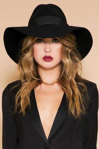 Wool Floppy Hat - Black