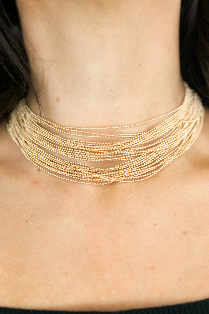 Gold Bands Beaded Choker