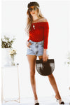 Off-Shoulder Stretch Tee - Red