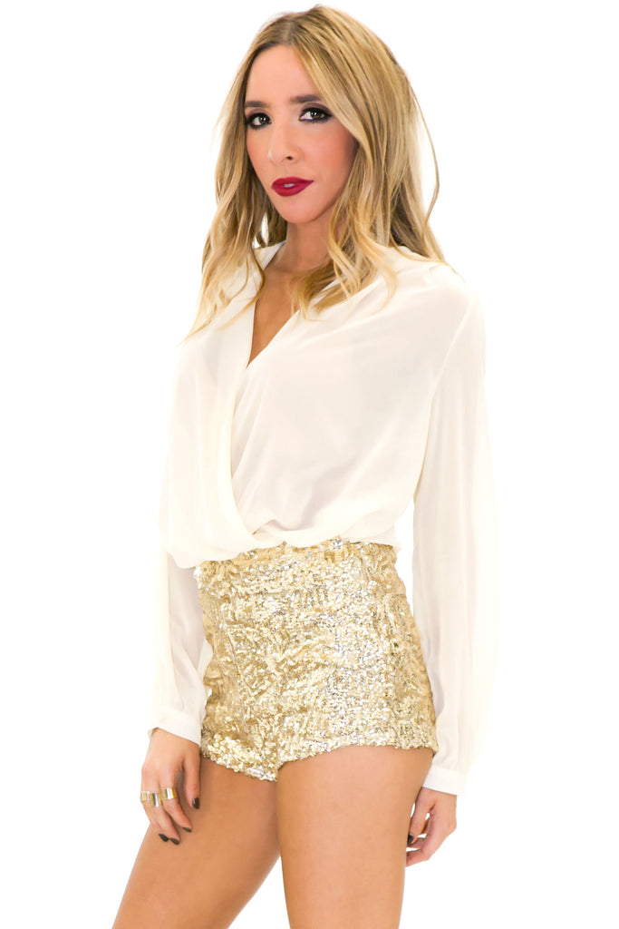 Paulin High-Waisted Sequin Booty Shorts - Haute & Rebellious
