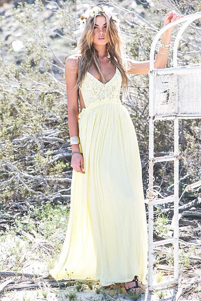 Camilla Open Back Crochet Maxi - Yellow /// Only 1-L left ///