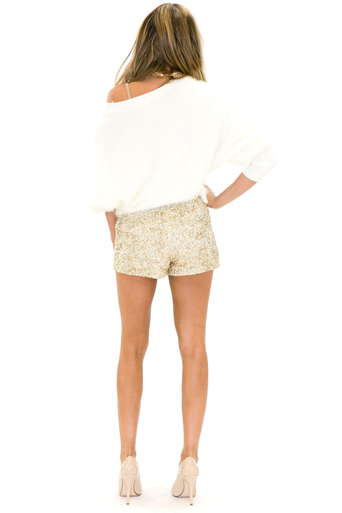 VELA SHAG FUR SWEATER - White