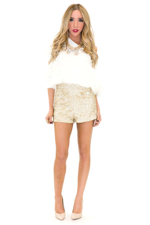 VELA SHAG FUR SWEATER - White - Haute & Rebellious